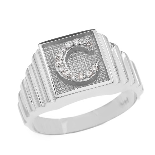 White Gold Diamond Initial C Ring