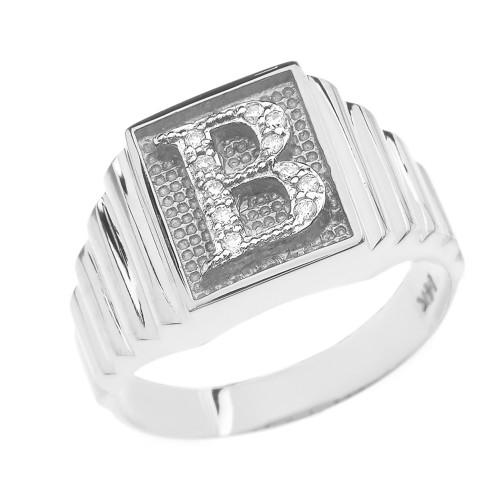 White Gold Diamond Initial B Ring