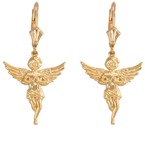 14k Yellow Gold Textured Praying Angels Earrings