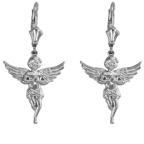 14k White Gold Textured Praying Angels Earrings