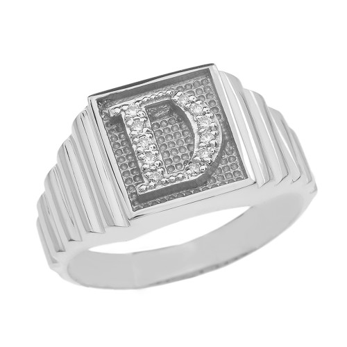 Sterling Silver Diamond Initial D Ring