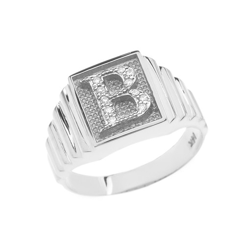Sterling Silver Diamond Initial B Ring