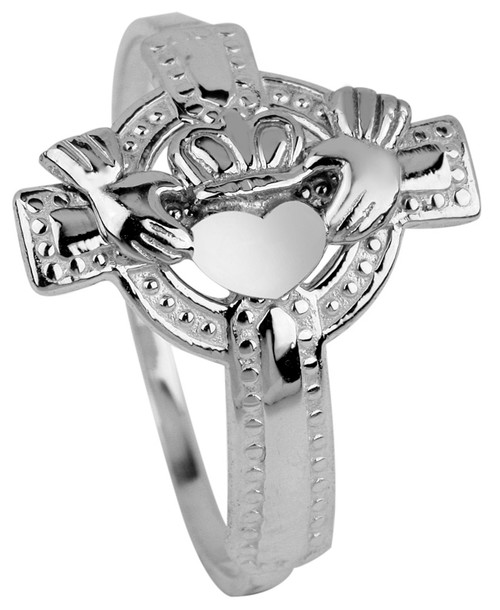 Silver Claddagh Ring Ladies on Cross