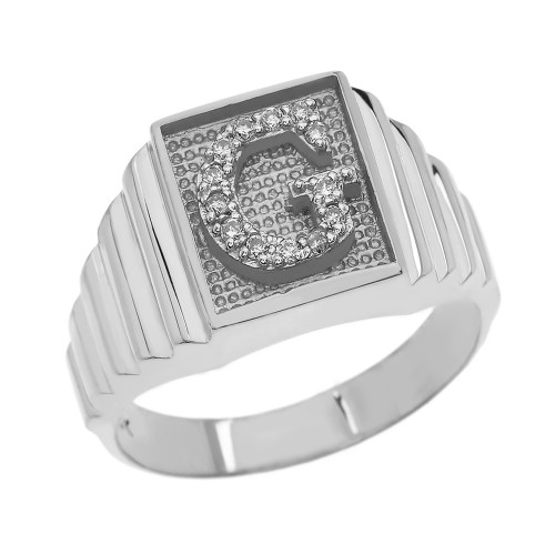 Sterling Silver Diamond Initial G Ring