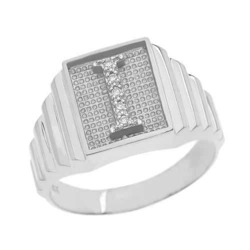 White Gold Diamond Initial I Ring
