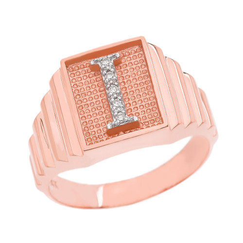 Rose Gold Diamond Initial I Ring