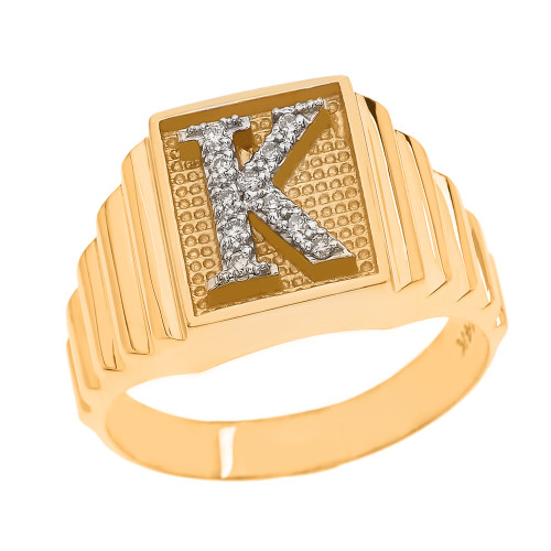 Yellow Gold Diamond Initial K Ring