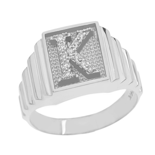 White Gold Diamond Initial K Ring