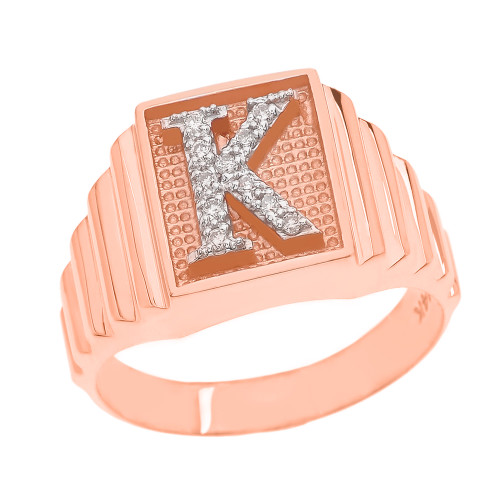 Rose Gold Diamond Initial K Ring