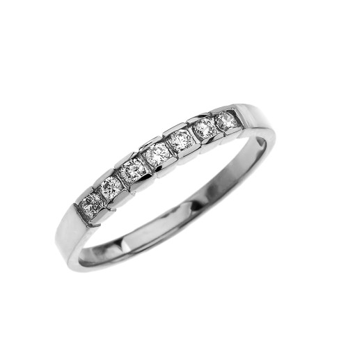 Elegant Channel Set Diamond White Gold Wedding Band
