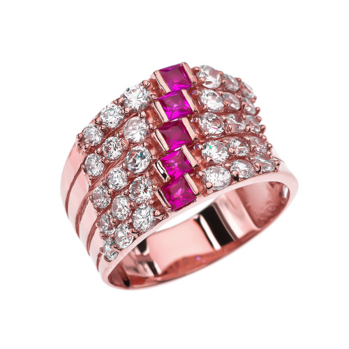 Fancy Five Raw Red and White CZ Rose Gold Modern Ring