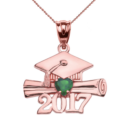 Rose Gold Heart May Birthstone Green CZ Class of 2017 Graduation Pendant Necklace