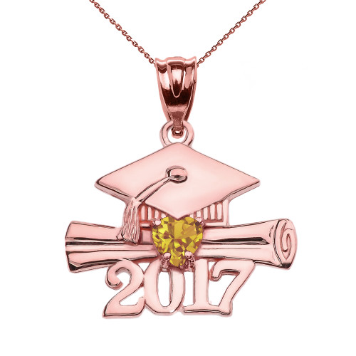 Rose Gold Heart November Birthstone Yellow CZ Class of 2017 Graduation Pendant Necklace
