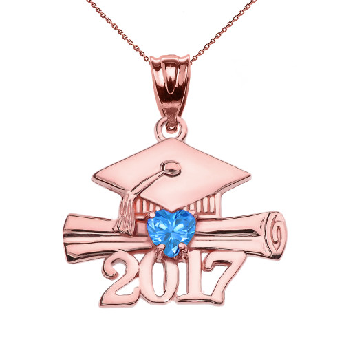 Rose Gold Heart December Birthstone Light Blue Class of 2017 Graduation Pendant Necklace