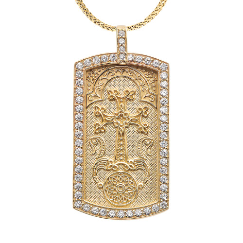 "Armenian Cross ""Khachkar"" Diamond Yellow Gold Dog Tag Pendant Necklace"