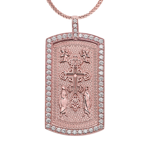 Eastern Orthodox Cross Diamond Rose Gold Dog Tag Pendant Necklace