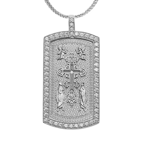 Eastern Orthodox Cross Diamond White Gold Dog Tag Pendant Necklace