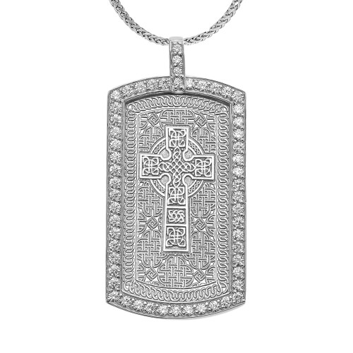 Celtic Cross Trinity Knot  Diamond White Gold Dog Tag Pendant Necklace