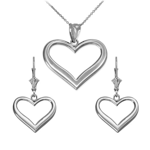 14K White Gold Polished Open Heart Necklace Earring Set