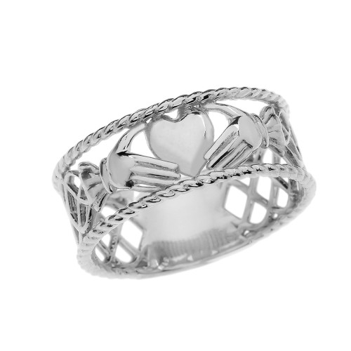 White Gold Claddagh Heart Celtic Knot Ring