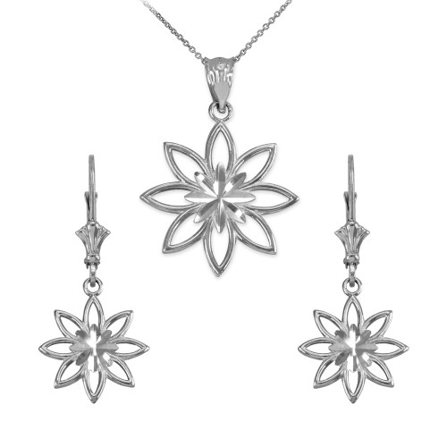 14K White Gold Polished Daisy Necklace Earring Set
