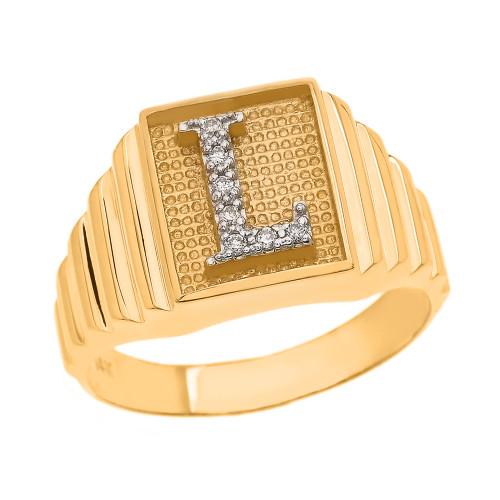 Yellow Gold Diamond Initial L  Ring