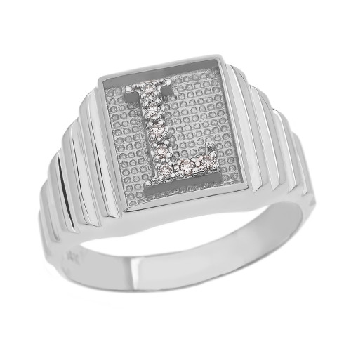 White Gold Diamond Initial L  Ring