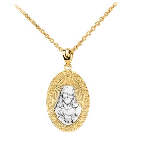Yellow Gold Two-Tone Medium Sacred Heart Of Jesus Pendant Necklace