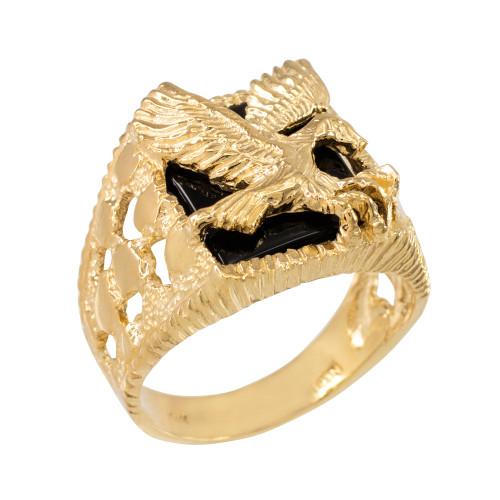 Yellow Gold Landing Eagle Onyx Men's Ring