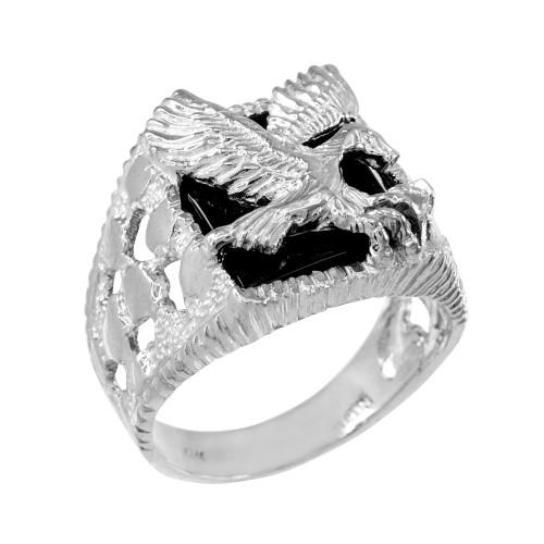 White Gold Landing Eagle Onyx Men's Ring