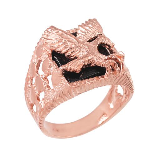 Rose Gold Landing Eagle Onyx Men's Ring