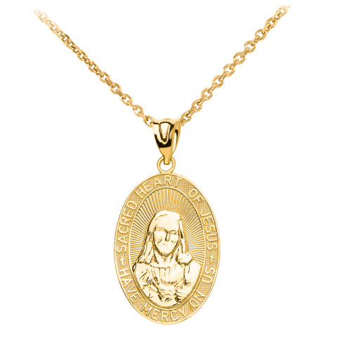 Yellow Gold Medium Sacred Heart Of Jesus Pendant Necklace