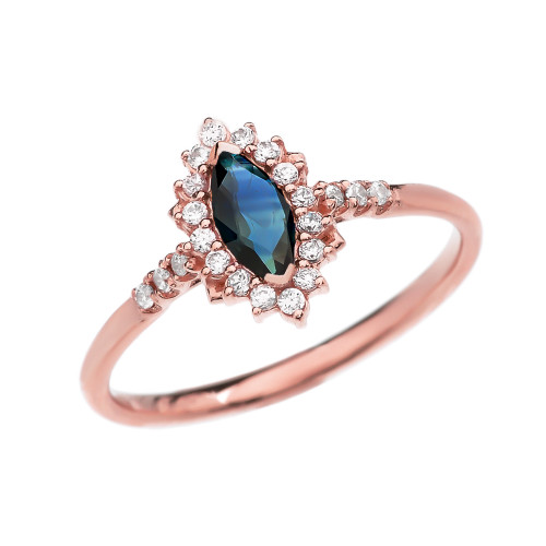 Diamond and Marquise Sapphire Rose Gold Proposal Engagement Ring