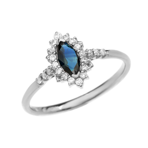 Diamond and Marquise Sapphire White Gold Proposal Engagement Ring