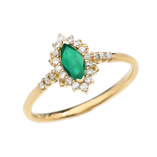 Diamond and Marquise (LCE) Emerald Yellow Gold Proposal Engagement Ring