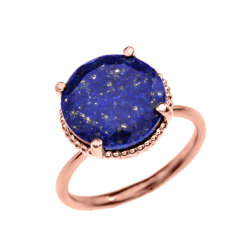 Diamond and 5.5 Carat Blue Lapis  Rose Gold Ring