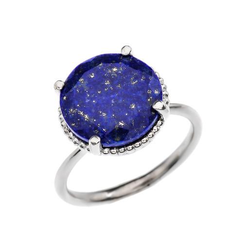 Diamond and 5.5 Carat Blue Lapis  White Gold Ring