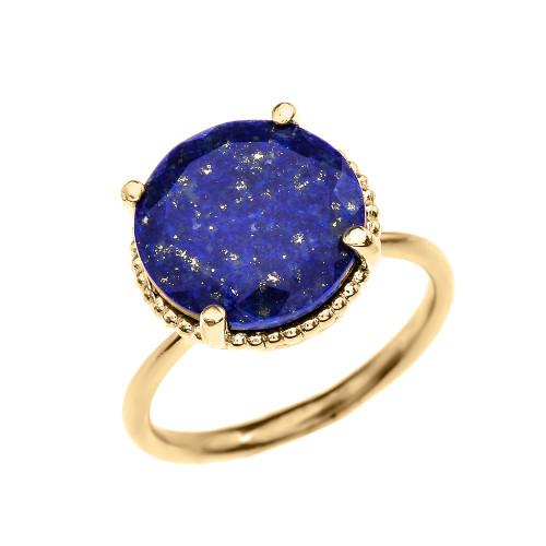 Diamond and 5.5 Carat Blue Lapis  Yellow Gold Ring