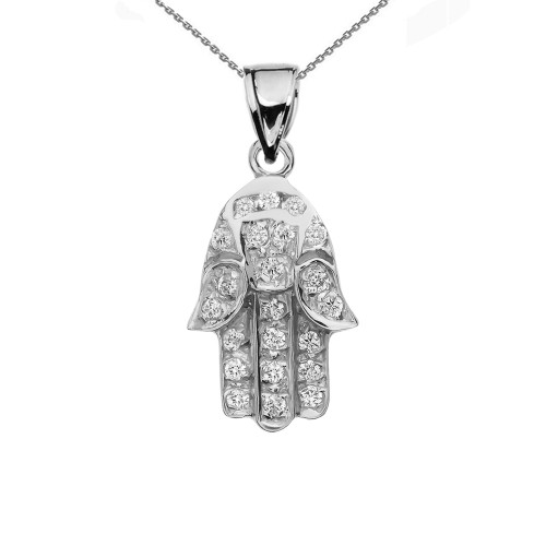 Diamond Hamsa Hand White Gold Charm Pendant Necklace