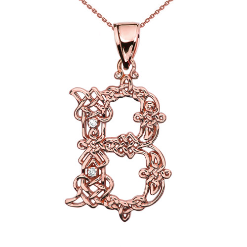 """""""B"""" Initial In Celtic Knot Pattern Rose Gold Pendant Necklace With Diamond"""