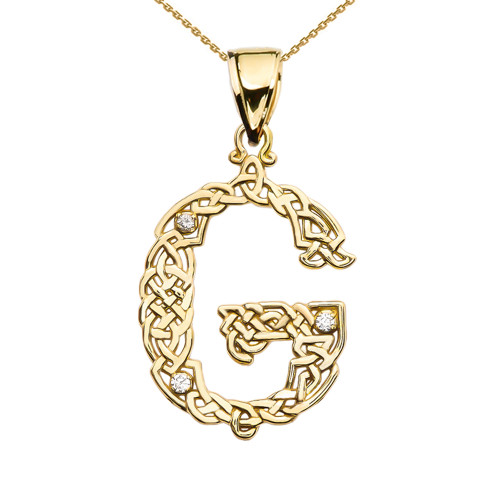 """""""G"""" Initial In Celtic Knot Pattern Yellow Gold Pendant Necklace With Diamond"""