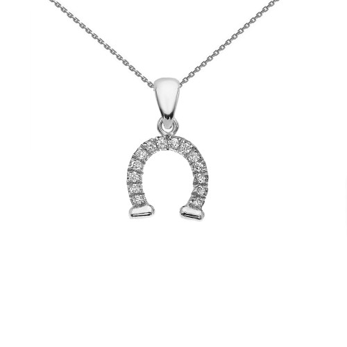 Reversible Diamond and High Polish Plain Horse Shoe Good Luck White Gold Charm Dainty Pendant Necklace