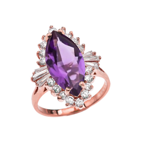4 Ct CZ Amethyst February Birthstone Ballerina Rose Gold Proposal Ring