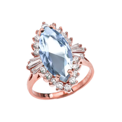 4 Ct Aquamarine CZ March Birthstone Ballerina Rose Gold Proposal Ring