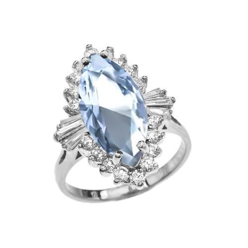 4 Ct Aquamarine CZ March Birthstone Ballerina White Gold Proposal Ring