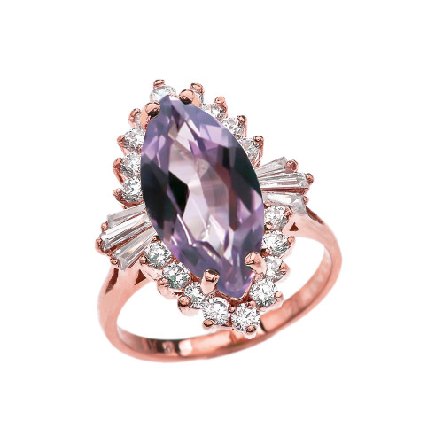 4 Ct CZ Alexandrite June Birthstone Ballerina Rose Gold Proposal Ring