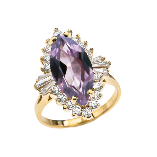 4 Ct CZ Alexandrite June Birthstone Ballerina Yellow Gold Proposal Ring