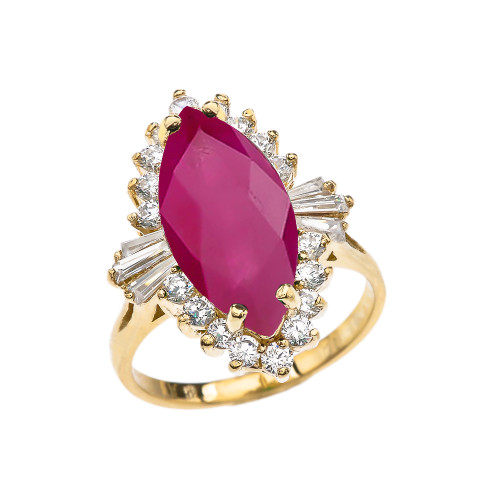4 Ct (LCR) Ruby July Birthstone Ballerina Yellow Gold Proposal Ring
