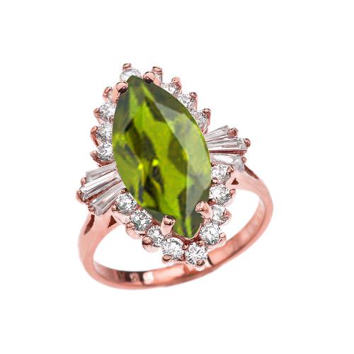 4 Ct CZ Peridot August Birthstone Ballerina Rose Gold Proposal Ring