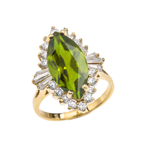 4 Ct CZ Peridot August Birthstone Ballerina Yellow Gold Proposal Ring